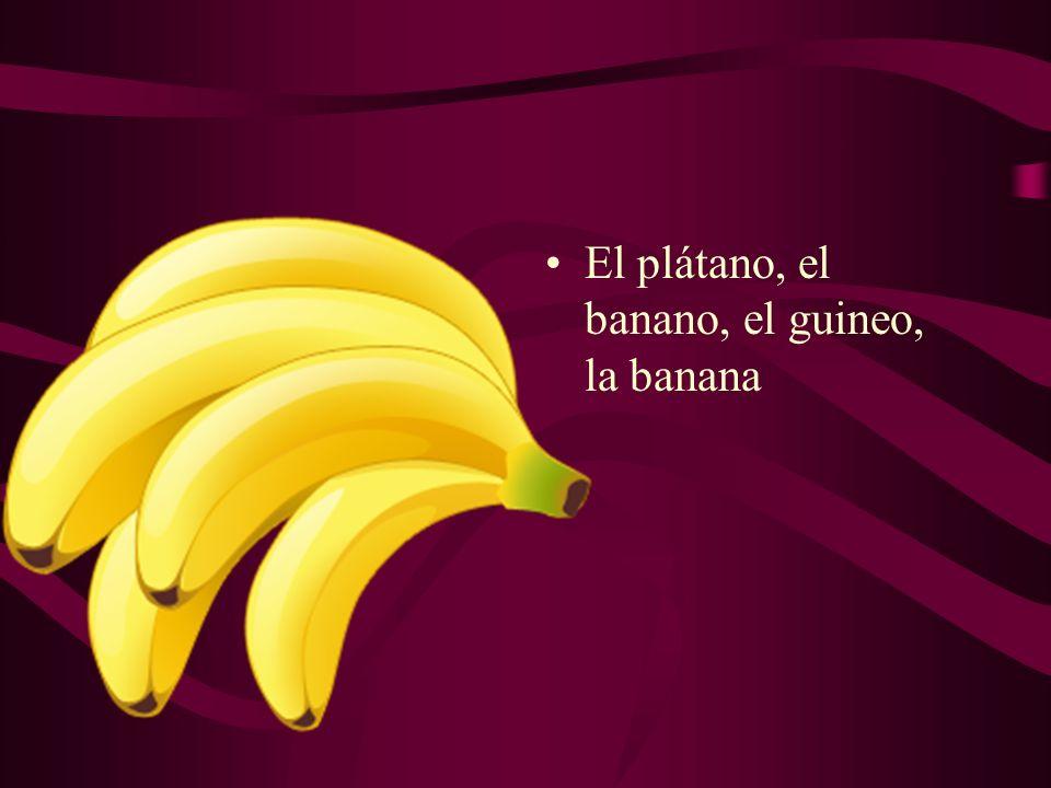 El plátano, el banano, el guineo, la banana