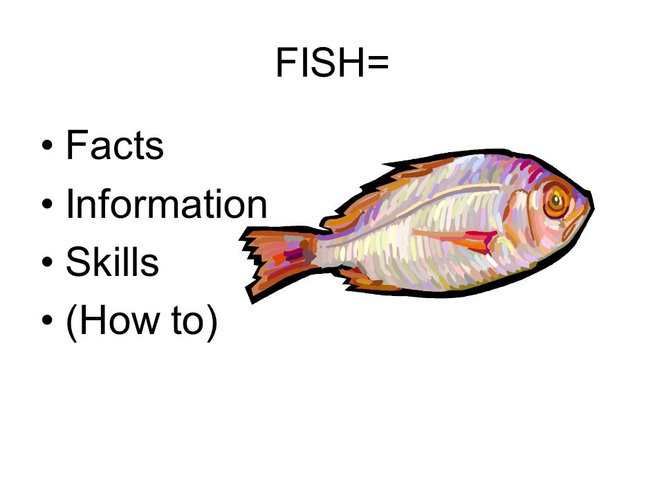 FISH= Facts Information Skills (How to)