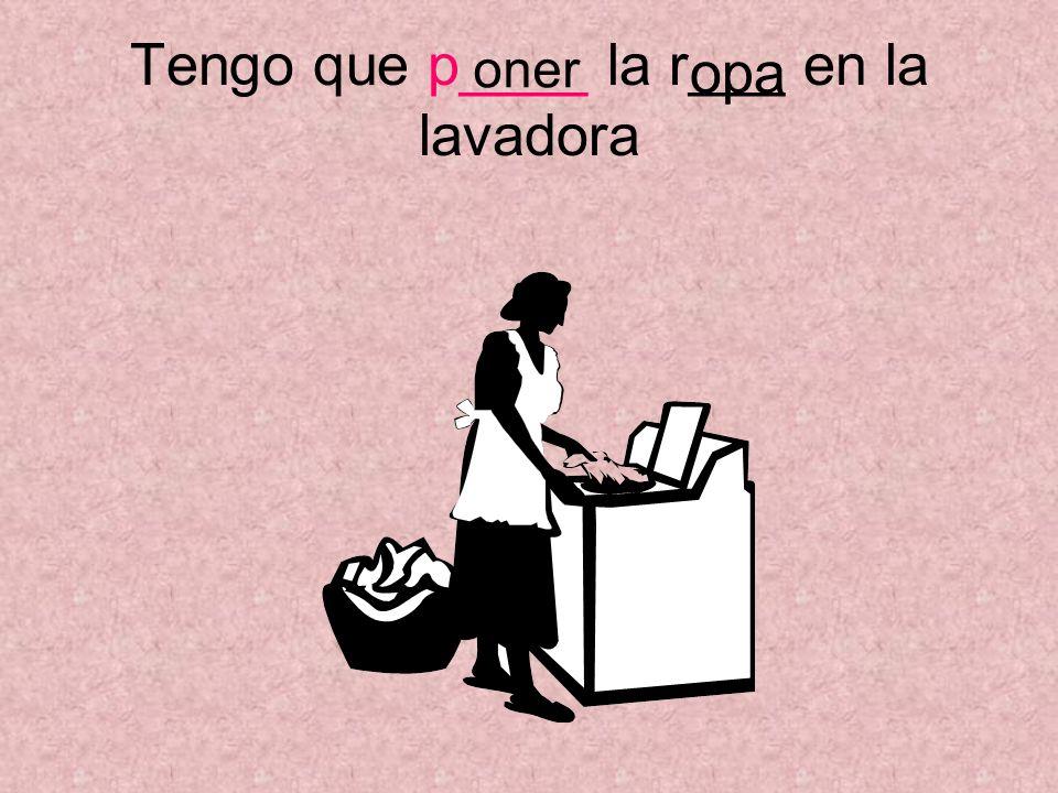 Tengo que p____ la r___ en la lavadora oner opa