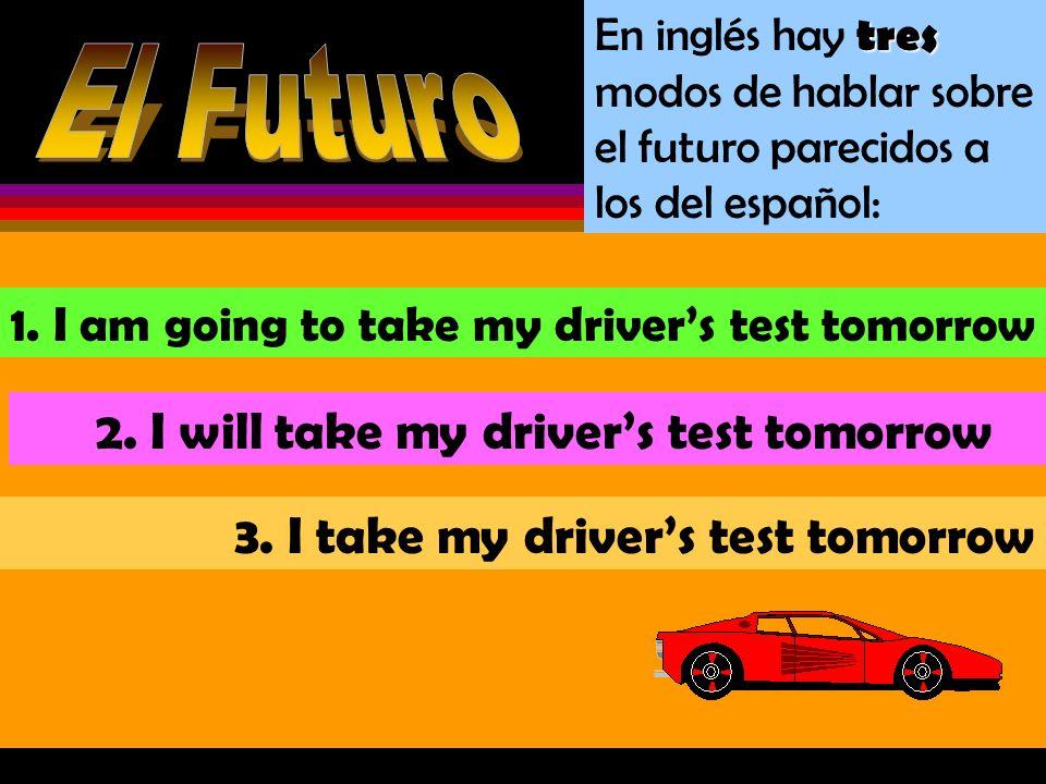 En inglés hay t tt tres modos de hablar sobre el futuro parecidos a los del español: 1.