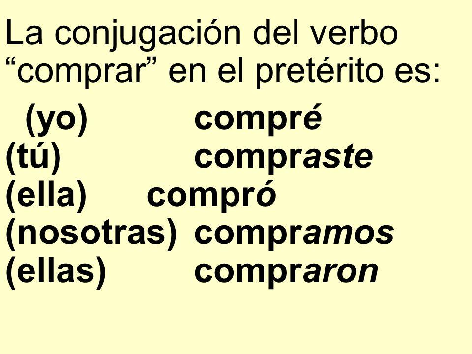 La conjugación del verbo comprar en el pretérito es: (yo)compré (tú)compraste (ella)compró (nosotras)compramos (ellas)compraron