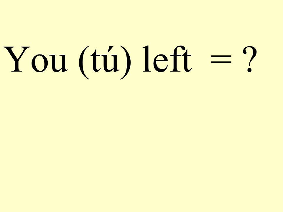 You (tú) left = ?