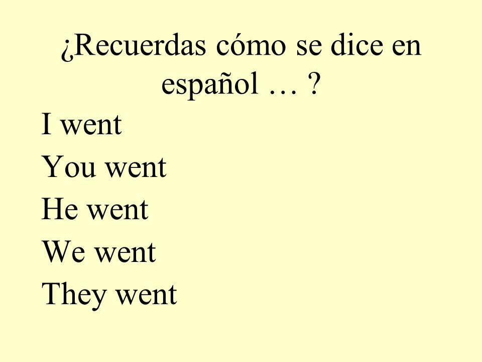¿Recuerdas cómo se dice en español … ? I went You went He went We went They went