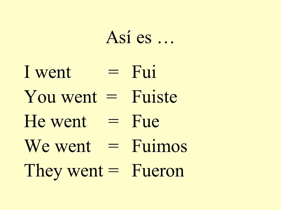 Así es … I went = You went = He went= We went= They went= Fui Fuiste Fue Fuimos Fueron