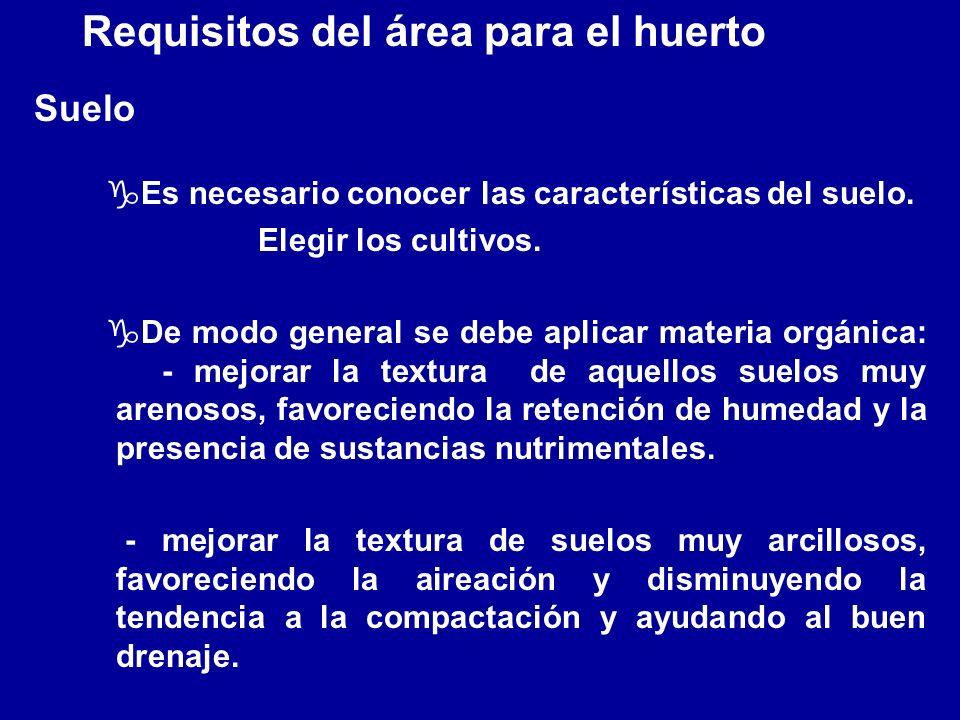 Requisitos del área para el huerto Suelo gEs necesario conocer las características del suelo. Elegir los cultivos. gDe modo general se debe aplicar ma