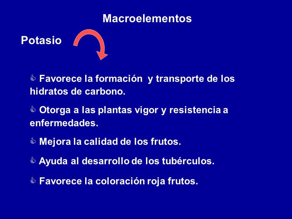 Macroelementos Potasio C Favorece la formación y transporte de los hidratos de carbono. C Otorga a las plantas vigor y resistencia a enfermedades. C M
