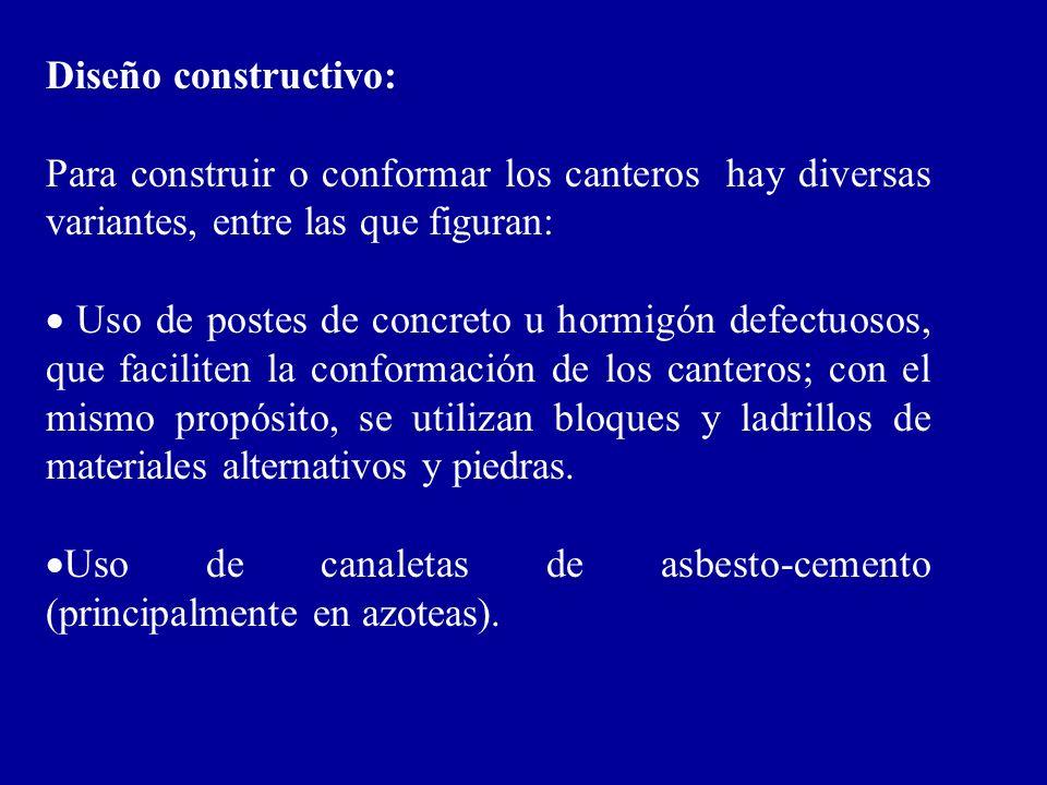 Diseño constructivo: Para construir o conformar los canteros hay diversas variantes, entre las que figuran: Uso de postes de concreto u hormigón defec