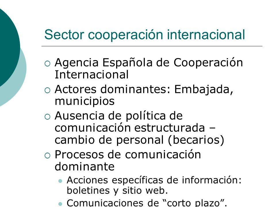 Sector cooperación internacional Agencia Española de Cooperación Internacional Actores dominantes: Embajada, municipios Ausencia de política de comunicación estructurada – cambio de personal (becarios) Procesos de comunicación dominante Acciones específicas de información: boletines y sitio web.