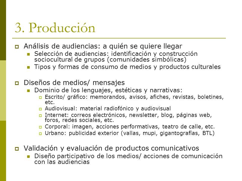 3.Producción Lenguajes Escrito/ gráfico, audiovisual, Internet, corporal, Urbano.