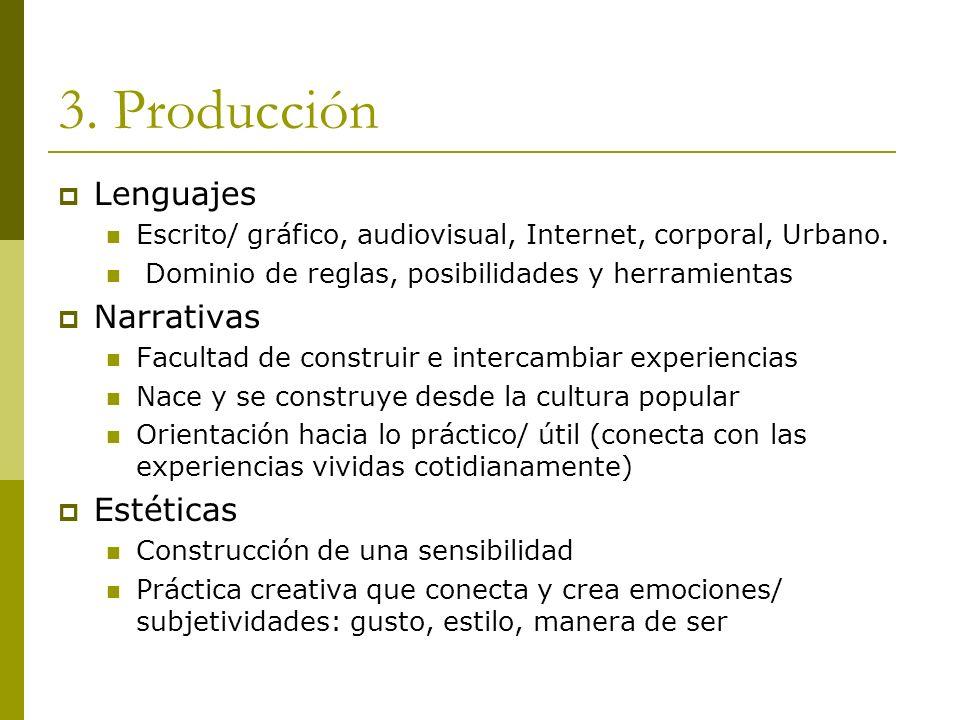3. Producción Lenguajes Escrito/ gráfico, audiovisual, Internet, corporal, Urbano. Dominio de reglas, posibilidades y herramientas Narrativas Facultad