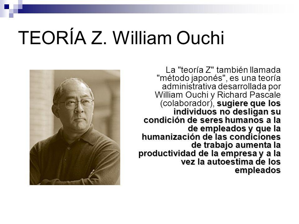 TEORÍA Z. William Ouchi sugiere que los individuos no desligan su condición de seres humanos a la de empleados y que la humanización de las condicione