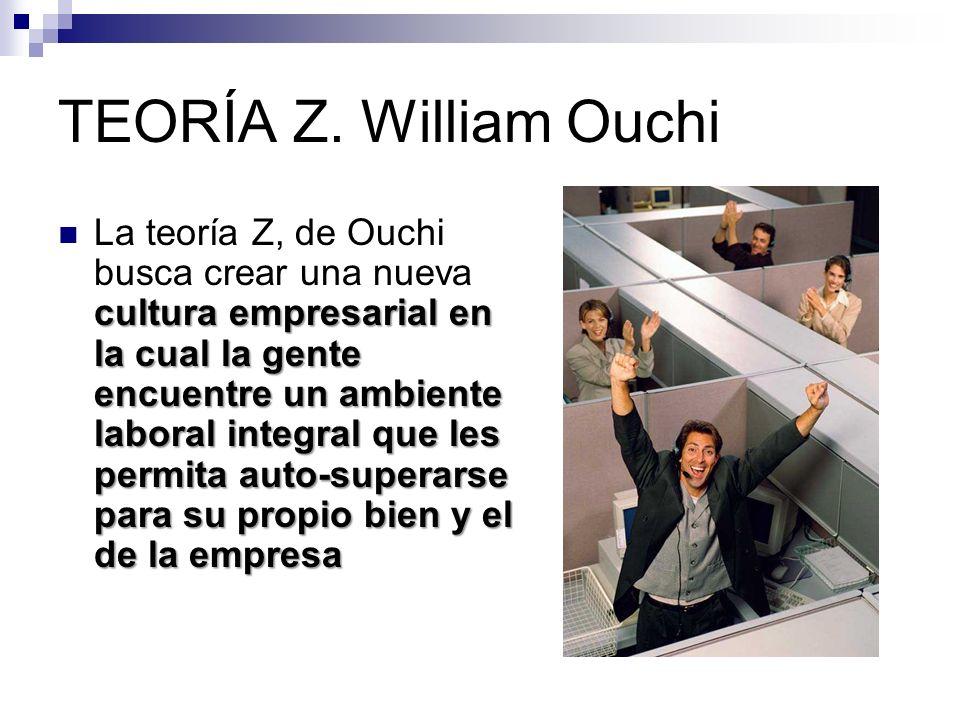TEORÍA Z. William Ouchi cultura empresarial en la cual la gente encuentre un ambiente laboral integral que les permita auto-superarse para su propio b
