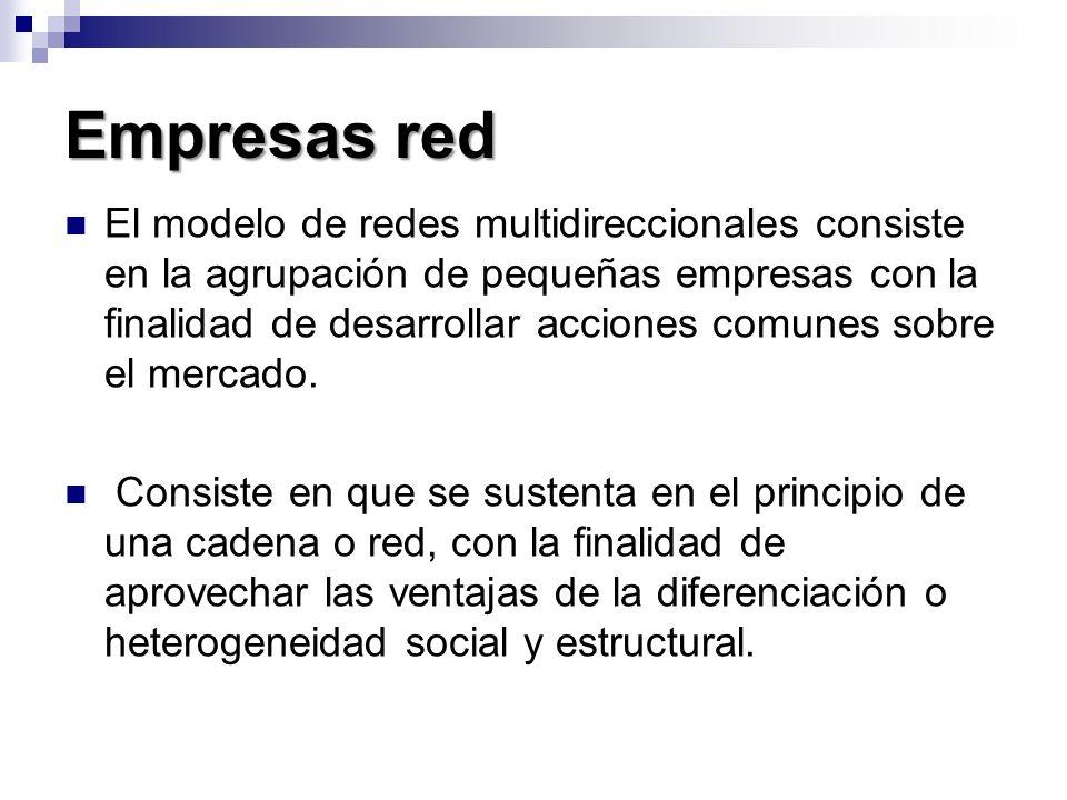 Empresas red El modelo de redes multidireccionales consiste en la agrupación de pequeñas empresas con la finalidad de desarrollar acciones comunes sob