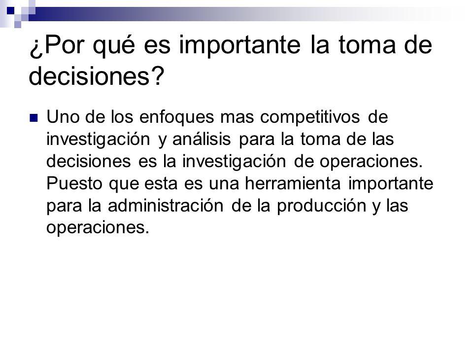 ¿Por qué es importante la toma de decisiones? Uno de los enfoques mas competitivos de investigación y análisis para la toma de las decisiones es la in