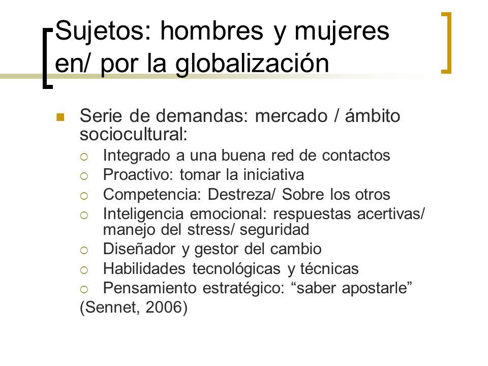 Sujetos: hombres y mujeres en/ por la globalización Serie de demandas: mercado / ámbito sociocultural: Integrado a una buena red de contactos Proactiv