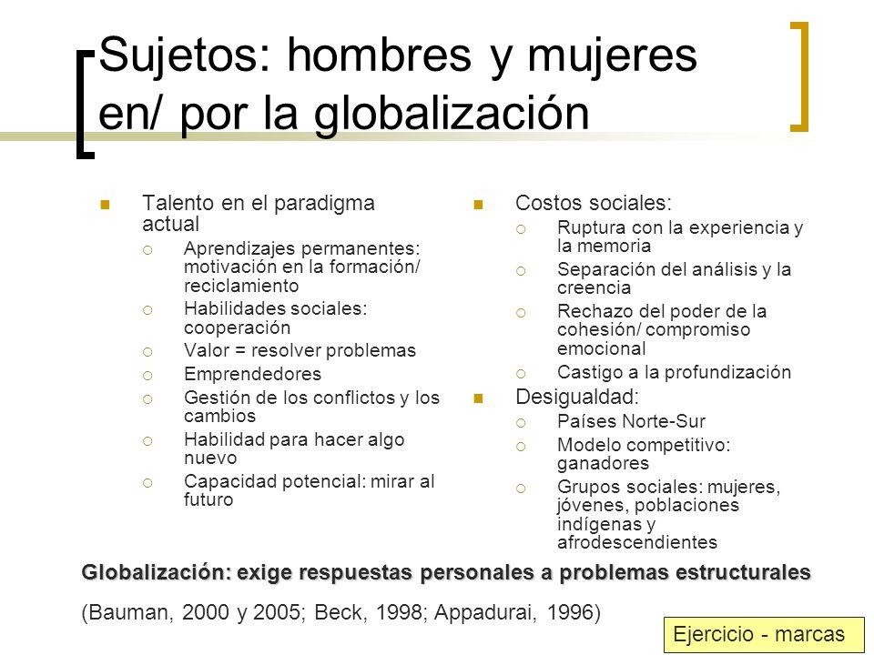 Sujetos: hombres y mujeres en/ por la globalización Talento en el paradigma actual Aprendizajes permanentes: motivación en la formación/ reciclamiento