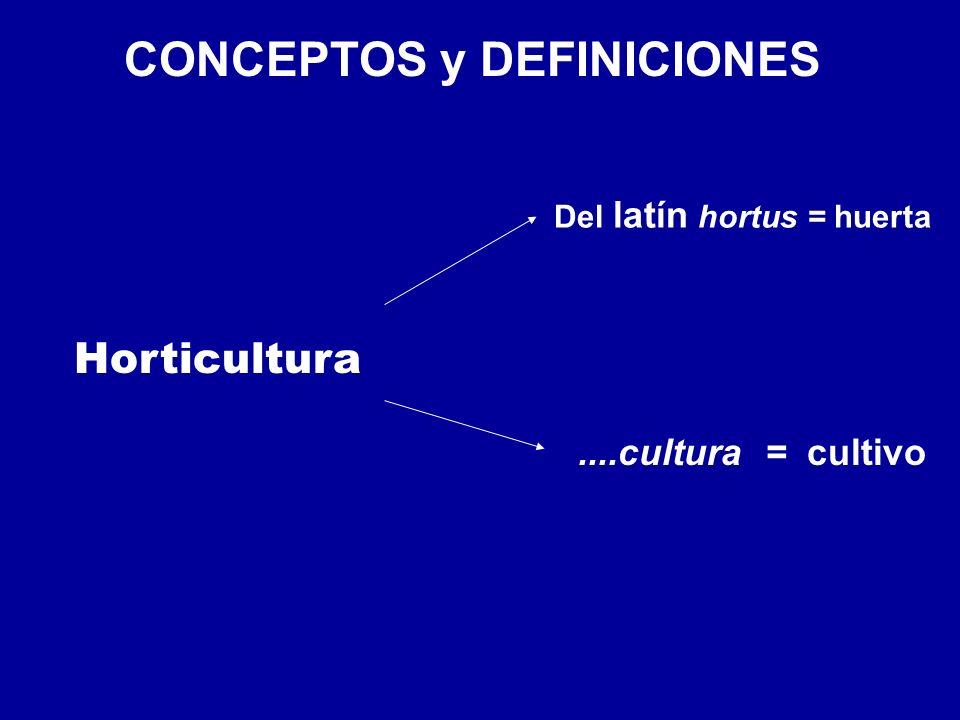 CONCEPTOS y DEFINICIONES Horticultura Del latín hortus = huerta....cultura = cultivo