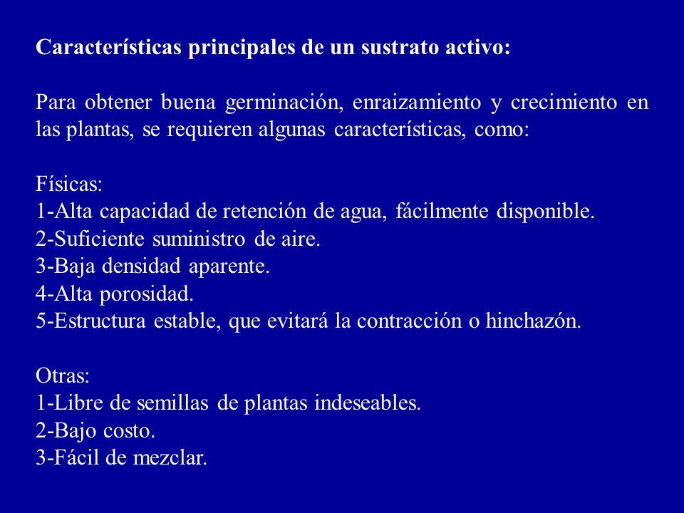 Características principales de un sustrato activo: Para obtener buena germinación, enraizamiento y crecimiento en las plantas, se requieren algunas ca