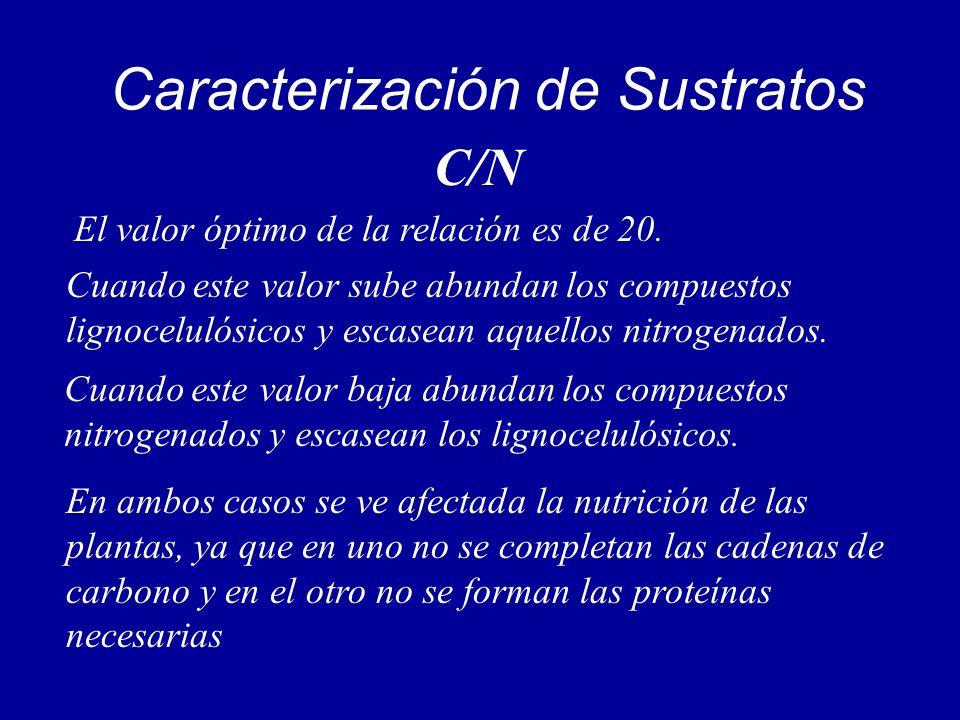 Caracterización de Sustratos C/N El valor óptimo de la relación es de 20. Cuando este valor sube abundan los compuestos lignocelulósicos y escasean aq