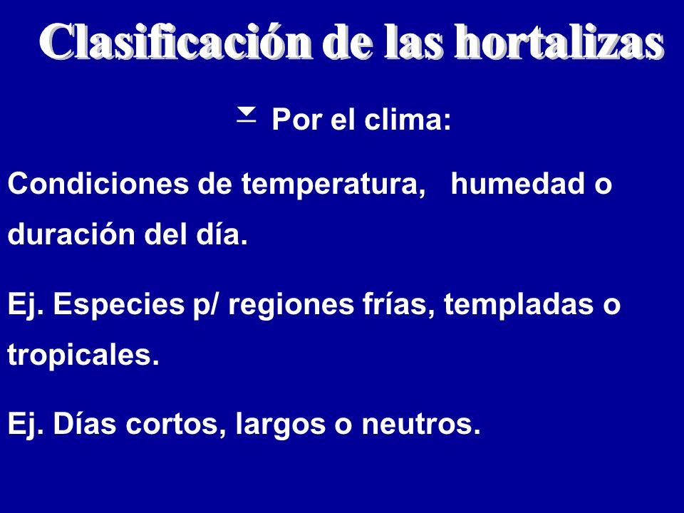 Por el clima: Condiciones de temperatura, humedad o duración del día. Ej. Especies p/ regiones frías, templadas o tropicales. Ej. Días cortos, largos