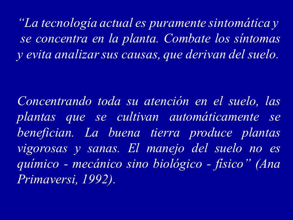 La tecnología actual es puramente sintomática y se concentra en la planta. Combate los síntomas y evita analizar sus causas, que derivan del suelo. Co