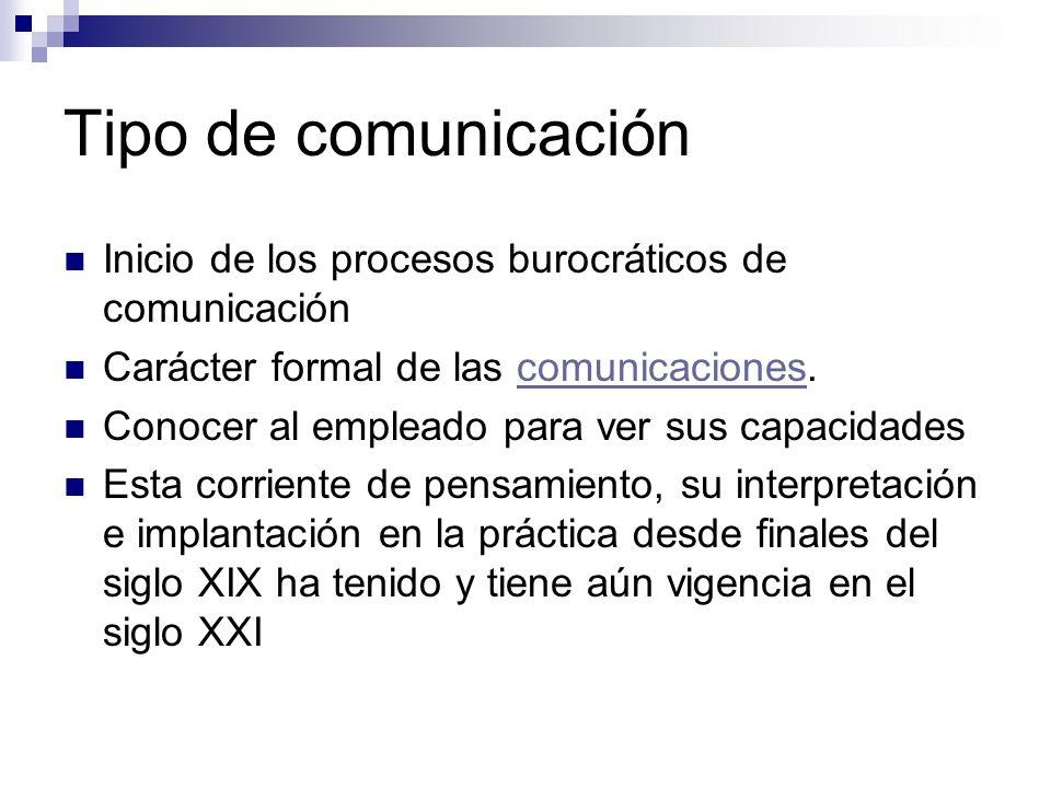 Tipo de comunicación Inicio de los procesos burocráticos de comunicación Carácter formal de las comunicaciones.comunicaciones Conocer al empleado para