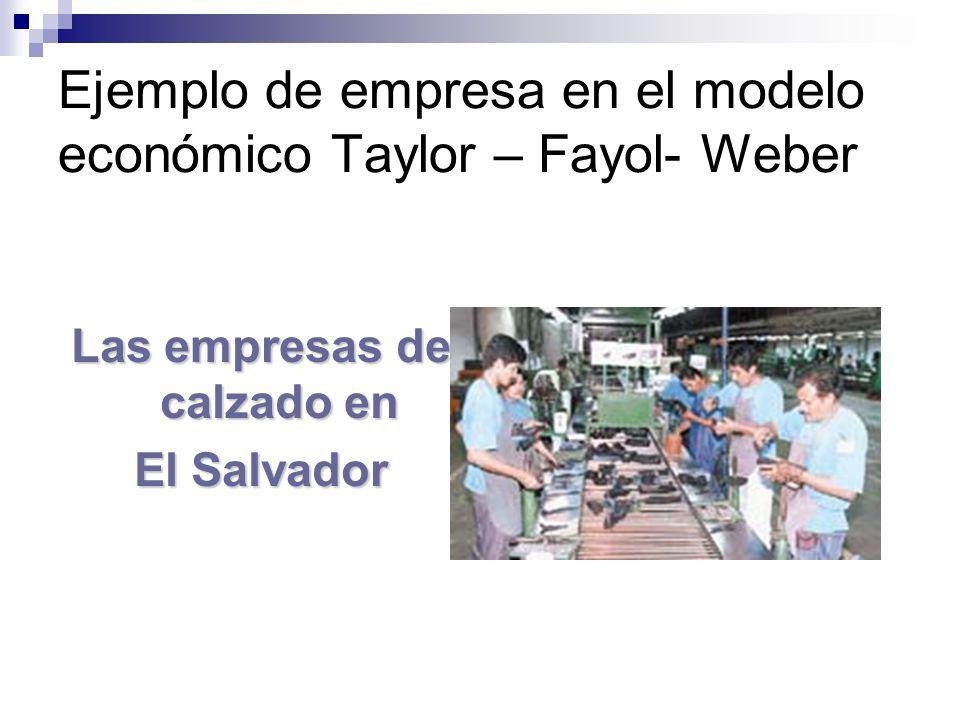 Ejemplo de empresa en el modelo económico Taylor – Fayol- Weber Las empresas de calzado en El Salvador