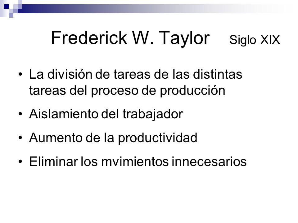 Frederick W. Taylor Siglo XIX La división de tareas de las distintas tareas del proceso de producción Aislamiento del trabajador Aumento de la product