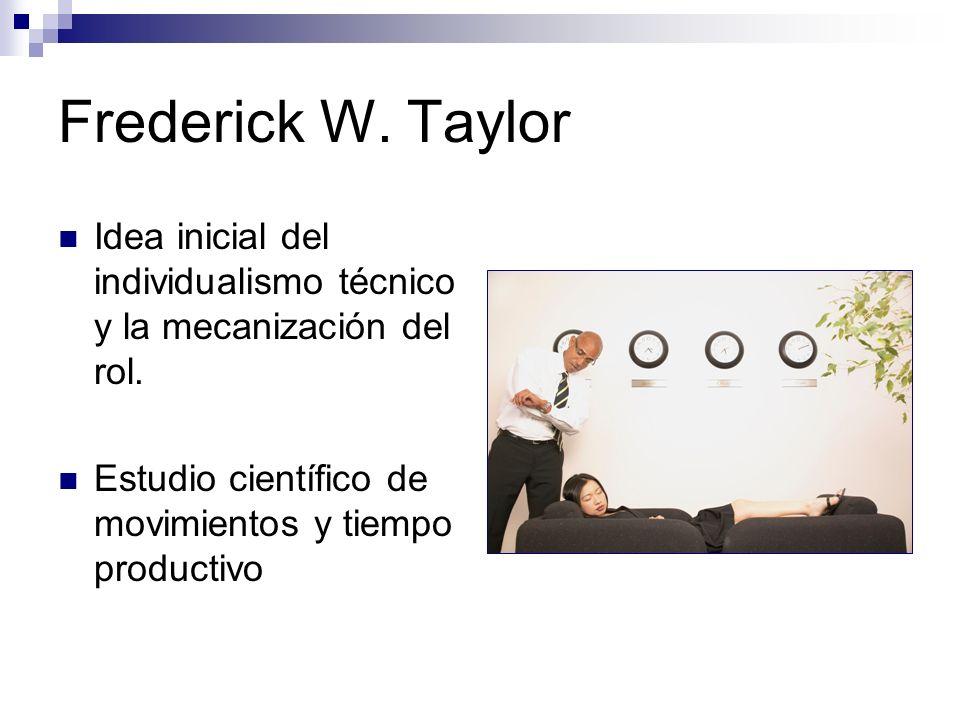 Frederick W. Taylor Idea inicial del individualismo técnico y la mecanización del rol. Estudio científico de movimientos y tiempo productivo