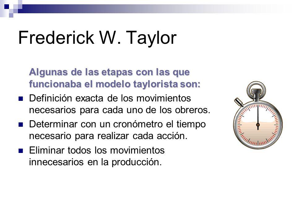 Frederick W. Taylor Algunas de las etapas con las que funcionaba el modelo taylorista son: Definición exacta de los movimientos necesarios para cada u