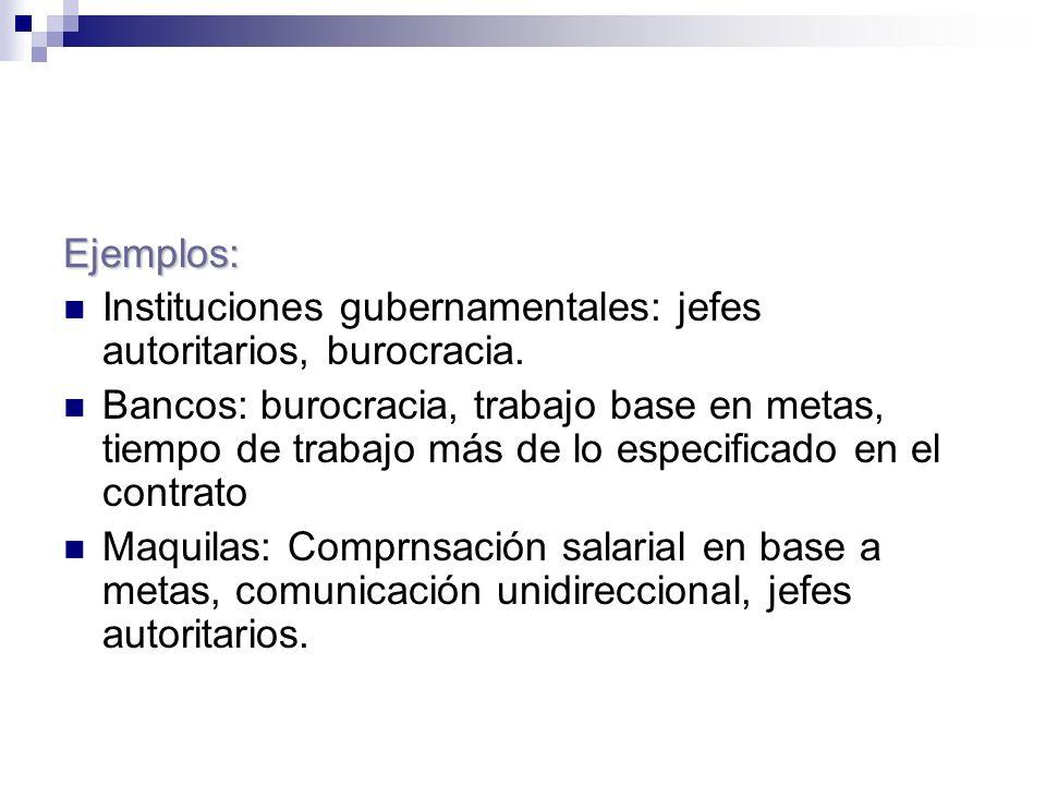 Ejemplos: Instituciones gubernamentales: jefes autoritarios, burocracia. Bancos: burocracia, trabajo base en metas, tiempo de trabajo más de lo especi