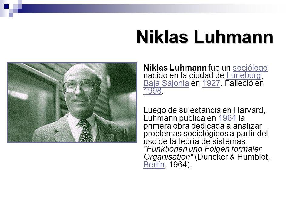 Niklas Luhmann Niklas Luhmann fue un sociólogo nacido en la ciudad de Lüneburg, Baja Sajonia en 1927. Falleció en 1998.sociólogoLüneburg Baja Sajonia1