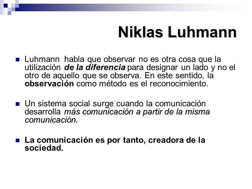 Niklas Luhmann Luhmann habla que observar no es otra cosa que la utilización de la diferencia para designar un lado y no el otro de aquello que se obs