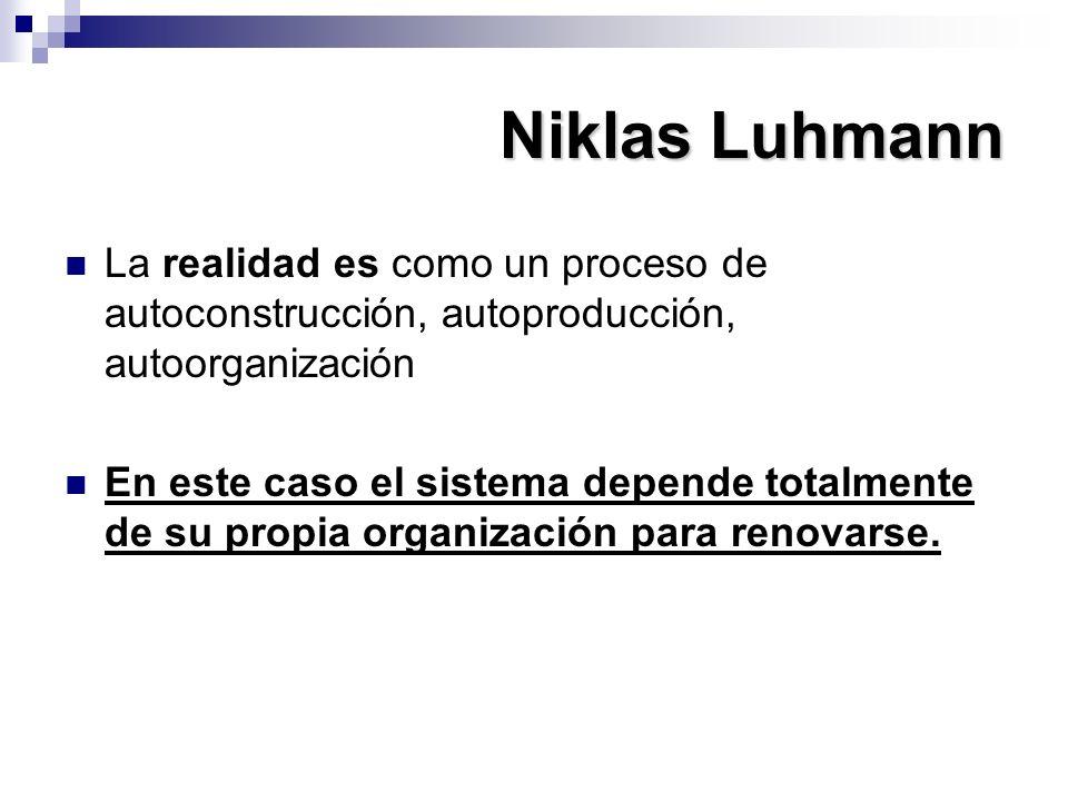 Niklas Luhmann La realidad es como un proceso de autoconstrucción, autoproducción, autoorganización En este caso el sistema depende totalmente de su p