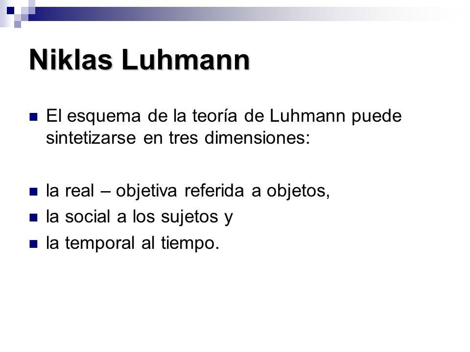 Niklas Luhmann El esquema de la teoría de Luhmann puede sintetizarse en tres dimensiones: la real – objetiva referida a objetos, la social a los sujet