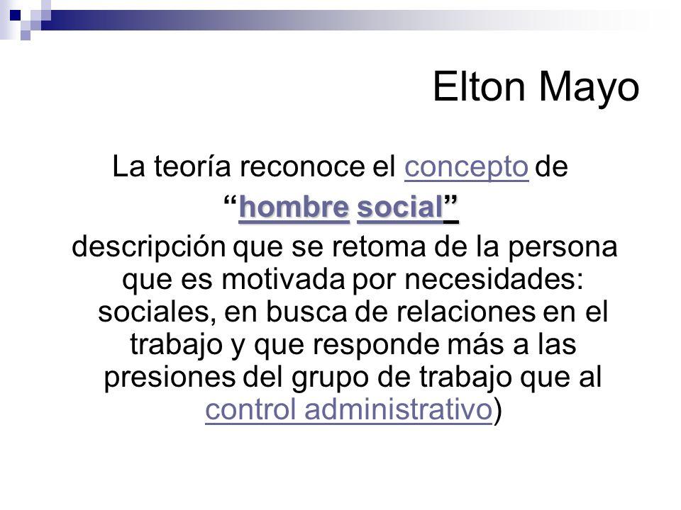 Elton Mayo La teoría reconoce el concepto deconcepto hombrehombre socialhombre socialhombre descripción que se retoma de la persona que es motivada po