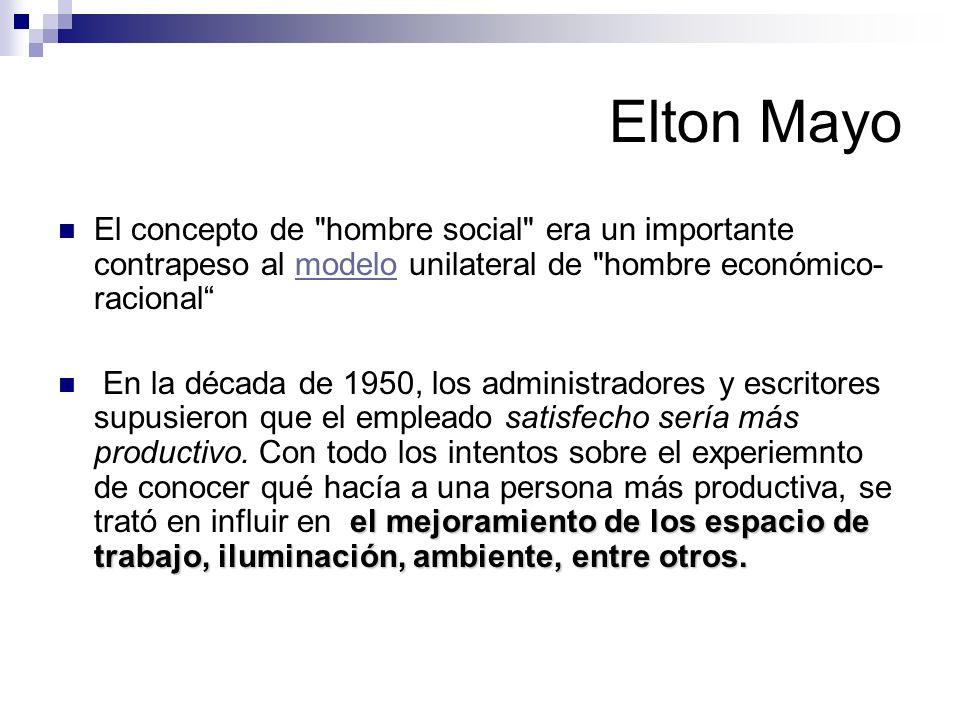 Elton Mayo Pero estos cambios no aportaron el mejoramiento impresionante de la productividad que se había esperado Por lo visto, el ambiente social del lugar de trabajo no es más que uno de los factores de interacción que influyen en la productividadambiente