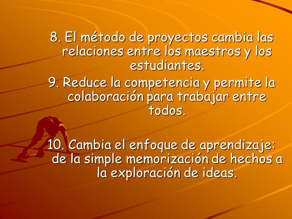 8. El método de proyectos cambia las relaciones entre los maestros y los estudiantes. 9. Reduce la competencia y permite la colaboración para trabajar