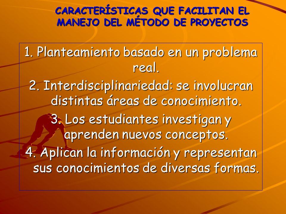 CARACTERÍSTICAS QUE FACILITAN EL MANEJO DEL MÉTODO DE PROYECTOS 1. Planteamiento basado en un problema real. 2. Interdisciplinariedad: se involucran d