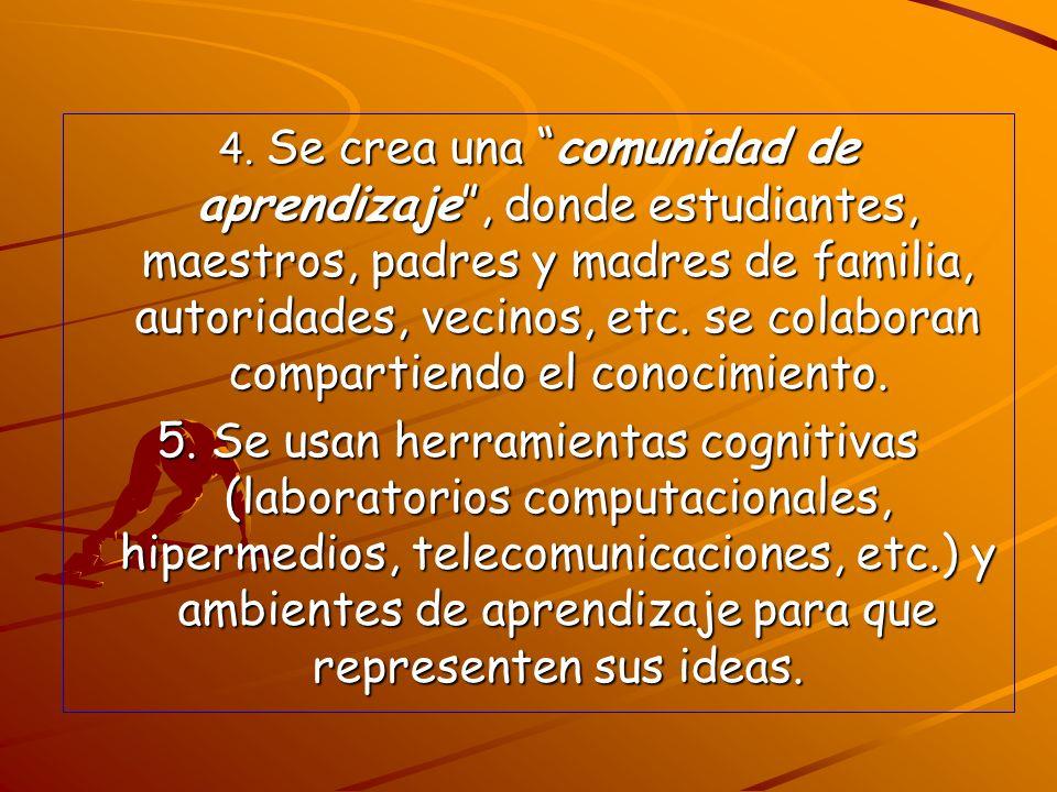 4. Se crea una comunidad de aprendizaje, donde estudiantes, maestros, padres y madres de familia, autoridades, vecinos, etc. se colaboran compartiendo