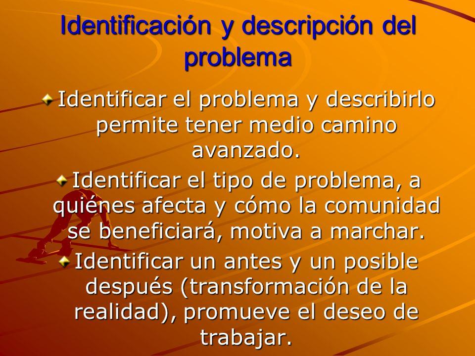 Identificación y descripción del problema Identificar el problema y describirlo permite tener medio camino avanzado. Identificar el tipo de problema,