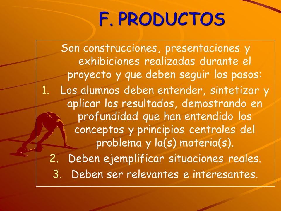 F. PRODUCTOS Son construcciones, presentaciones y exhibiciones realizadas durante el proyecto y que deben seguir los pasos: 1. 1.Los alumnos deben ent