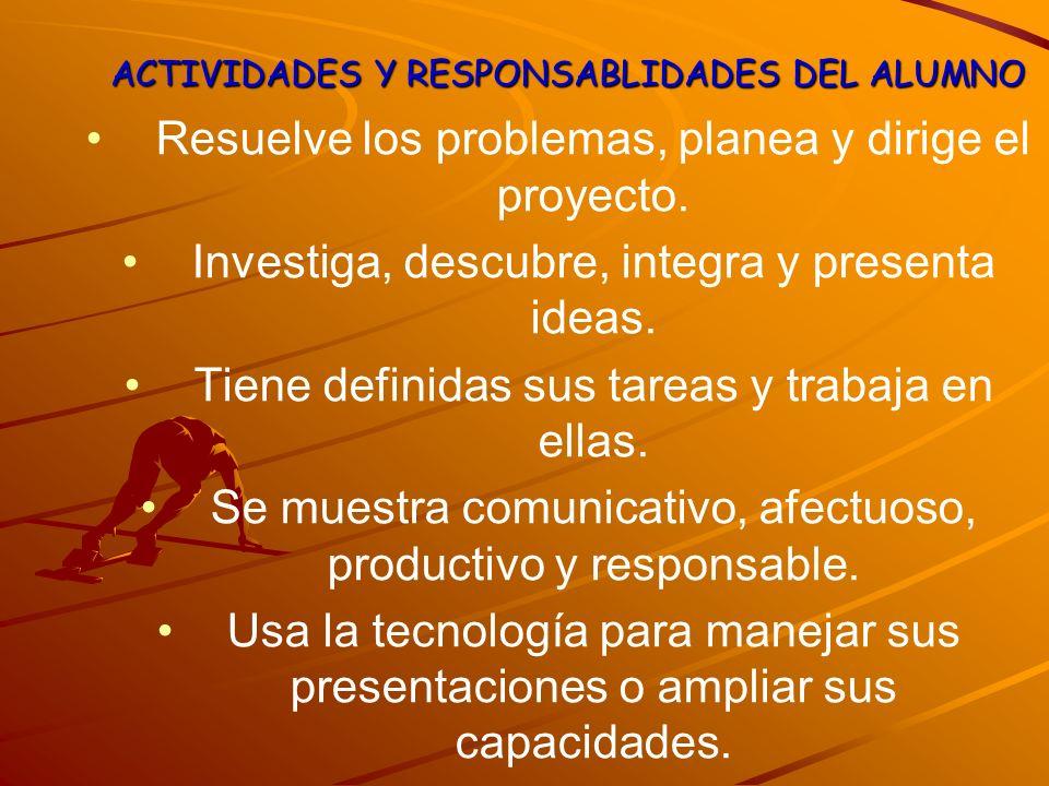 ACTIVIDADES Y RESPONSABLIDADES DEL ALUMNO Resuelve los problemas, planea y dirige el proyecto. Investiga, descubre, integra y presenta ideas. Tiene de