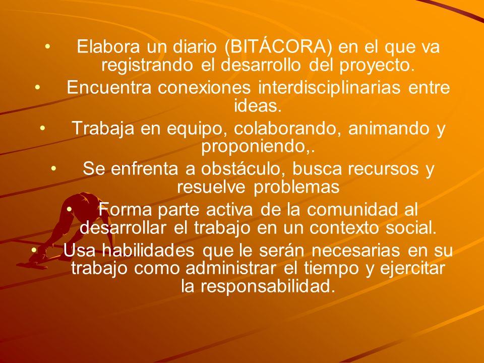 Elabora un diario (BITÁCORA) en el que va registrando el desarrollo del proyecto. Encuentra conexiones interdisciplinarias entre ideas. Trabaja en equ