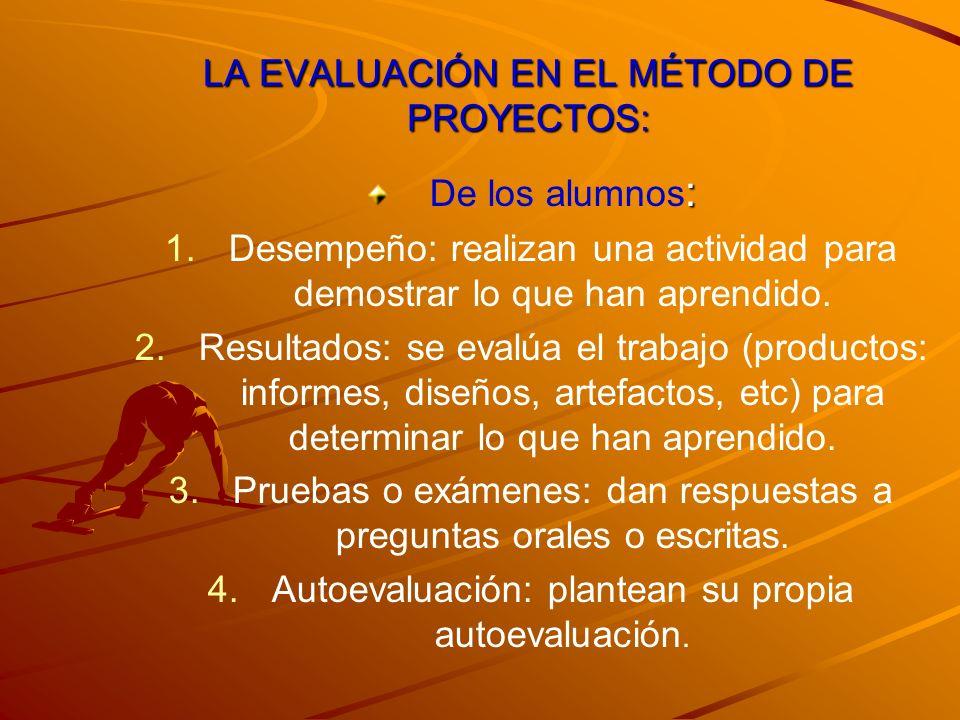 LA EVALUACIÓN EN EL MÉTODO DE PROYECTOS: : De los alumnos : 1. 1.Desempeño: realizan una actividad para demostrar lo que han aprendido. 2. 2.Resultado