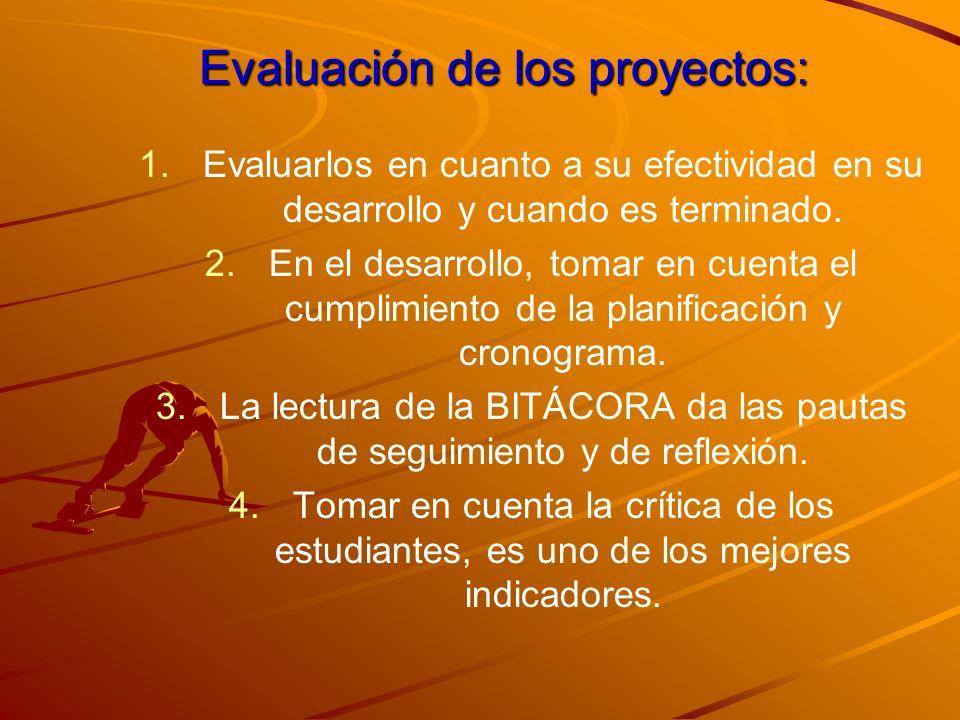 Evaluación de los proyectos: 1. 1.Evaluarlos en cuanto a su efectividad en su desarrollo y cuando es terminado. 2. 2.En el desarrollo, tomar en cuenta