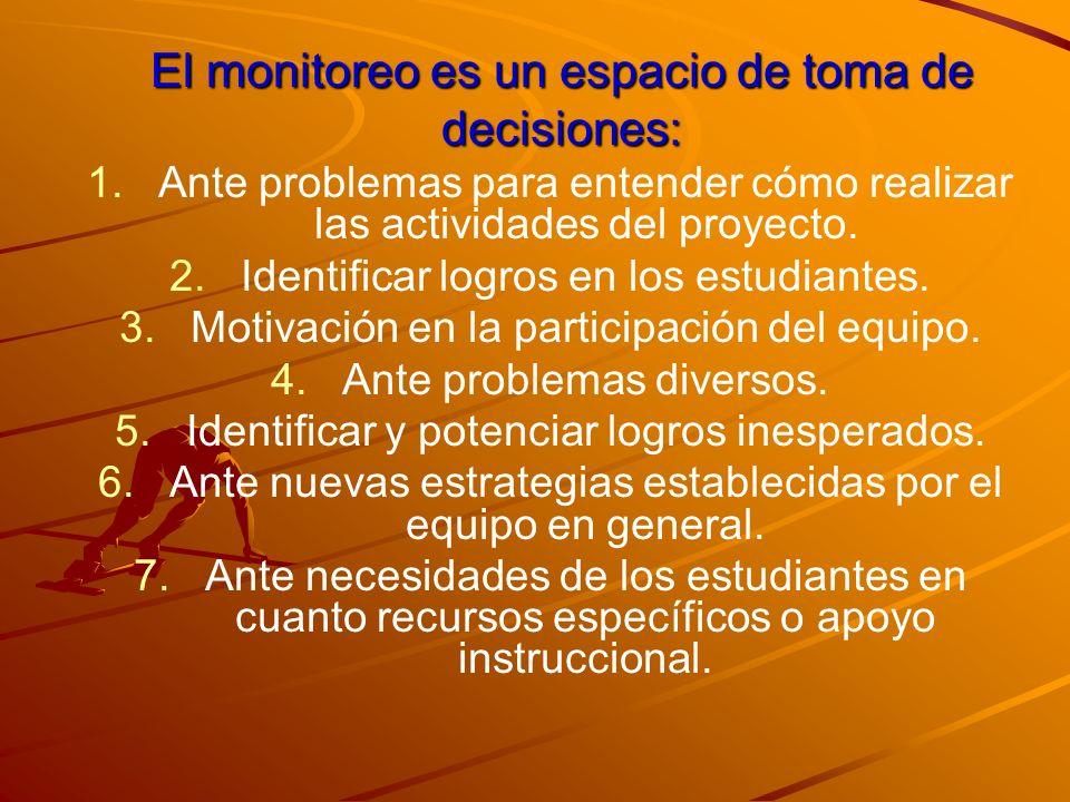 El monitoreo es un espacio de toma de decisiones: 1. 1.Ante problemas para entender cómo realizar las actividades del proyecto. 2. 2.Identificar logro