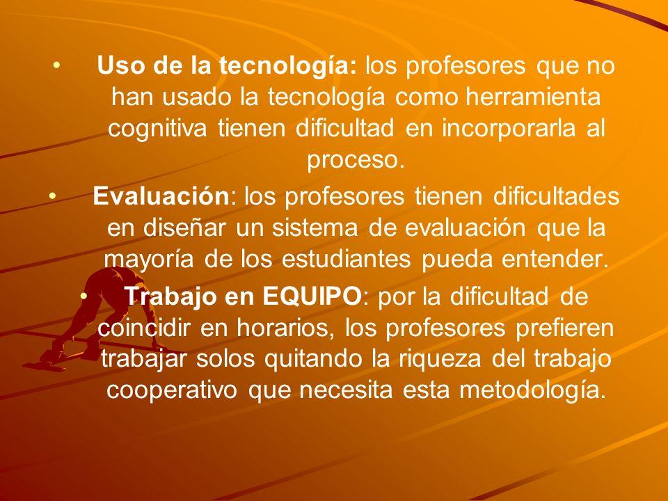 Uso de la tecnología: los profesores que no han usado la tecnología como herramienta cognitiva tienen dificultad en incorporarla al proceso. Evaluació
