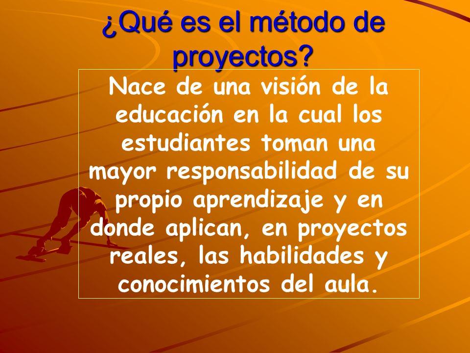 ¿Qué es el método de proyectos? Nace de una visión de la educación en la cual los estudiantes toman una mayor responsabilidad de su propio aprendizaje