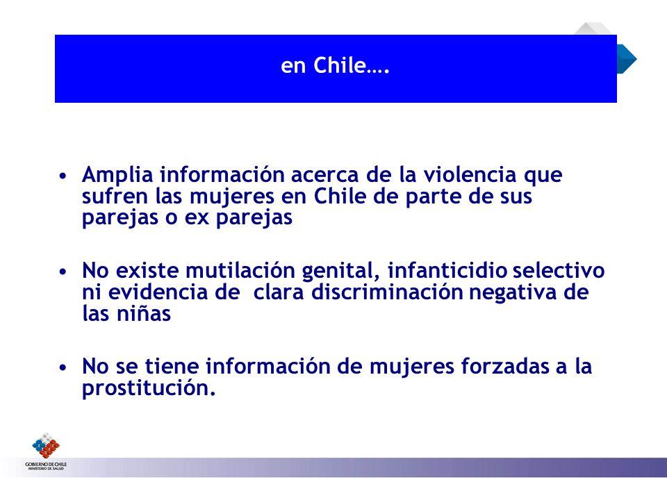 en Chile…. Amplia información acerca de la violencia que sufren las mujeres en Chile de parte de sus parejas o ex parejas No existe mutilación genital